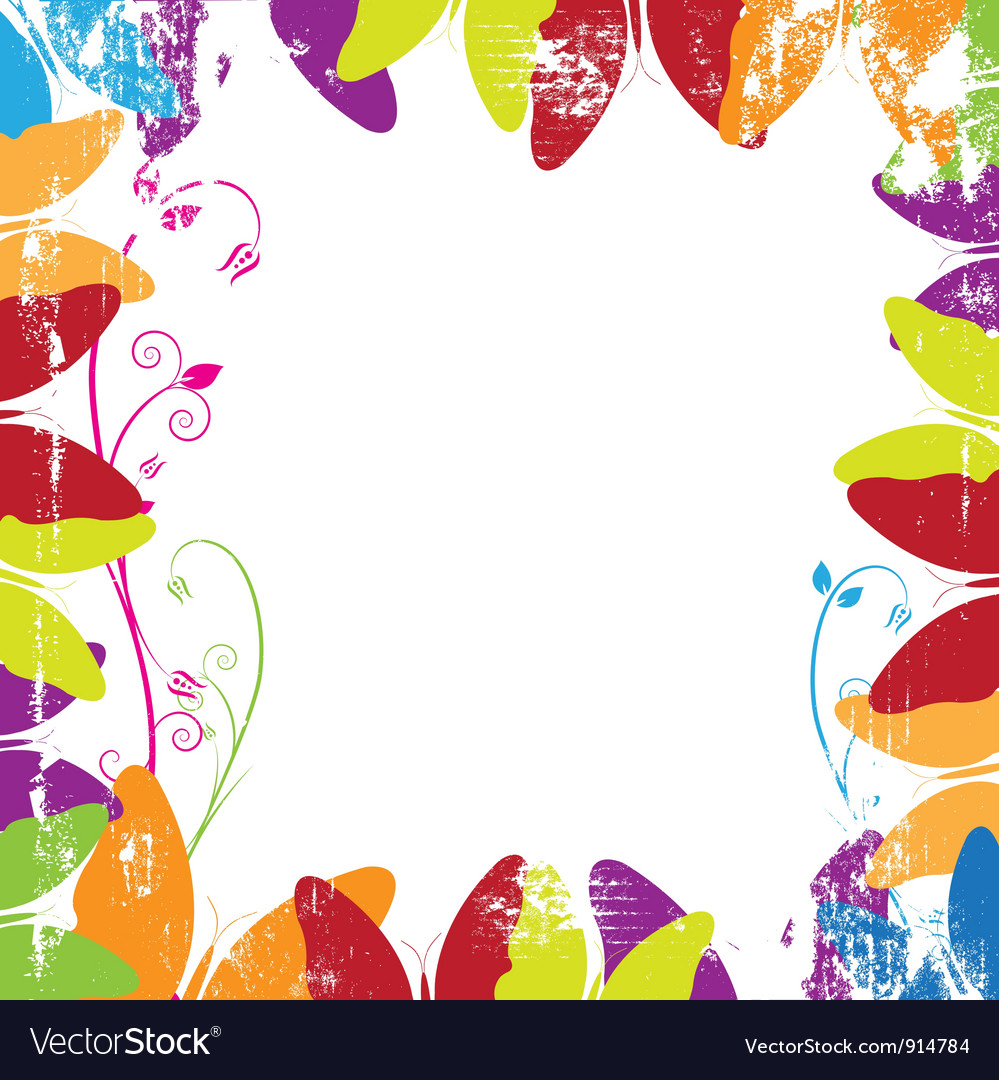 Butterfly frame with grunge vector