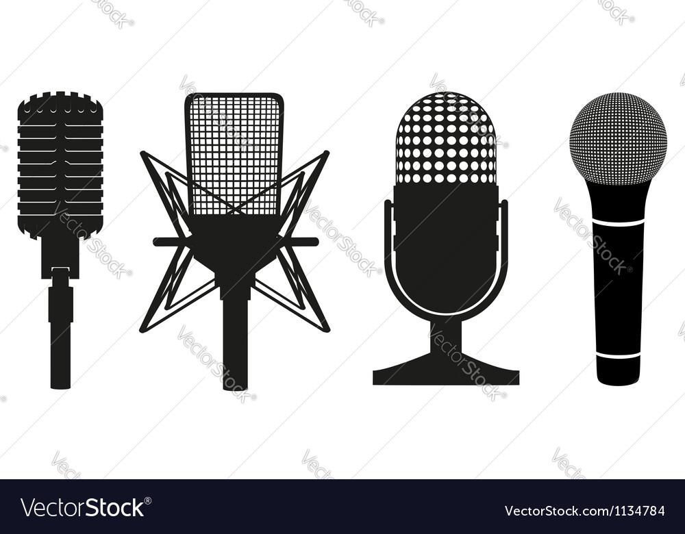 Microphone black silhouette vector