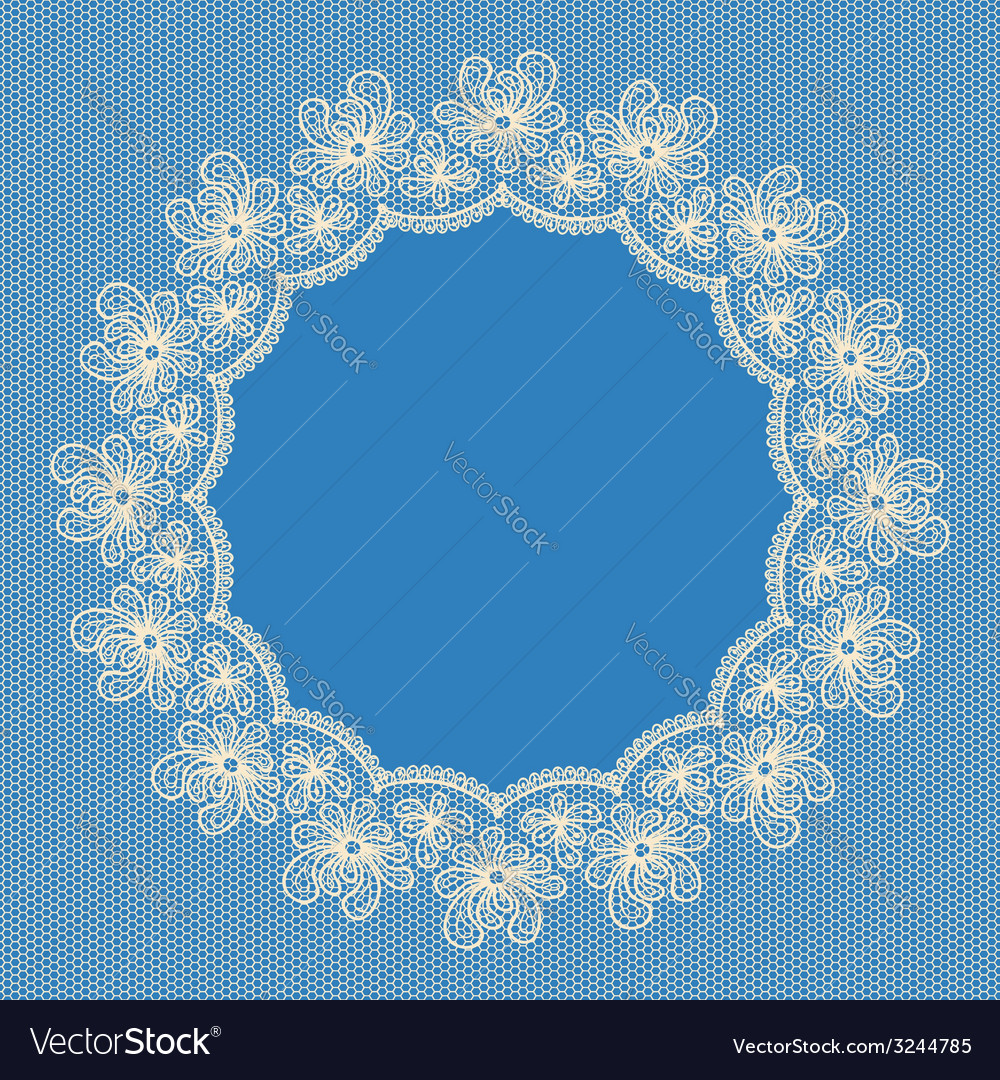 Round white lacy frame on blue background vector