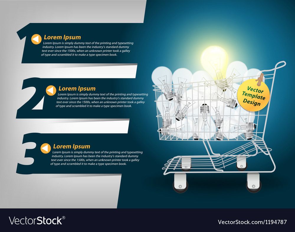 Creative template light bulb in the shopping cart vector