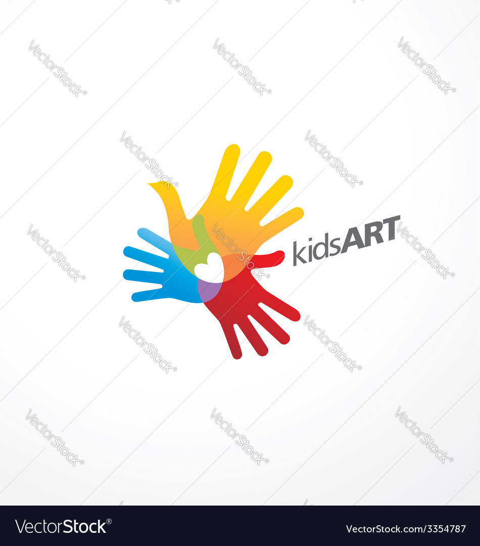 Kids art logo design vector