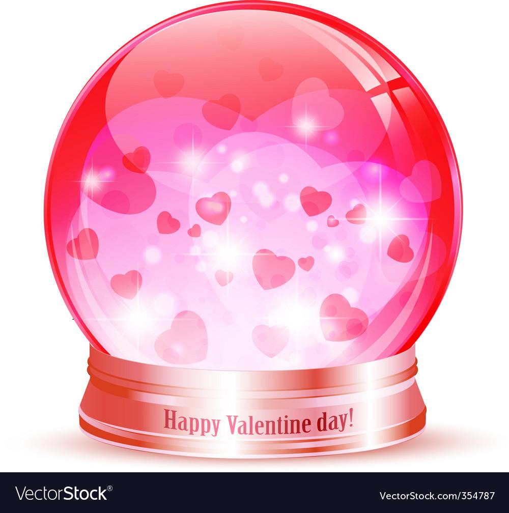 Valentine day globe vector