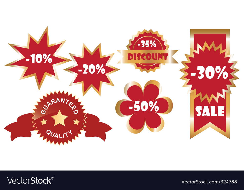 Set of promo stickers vector