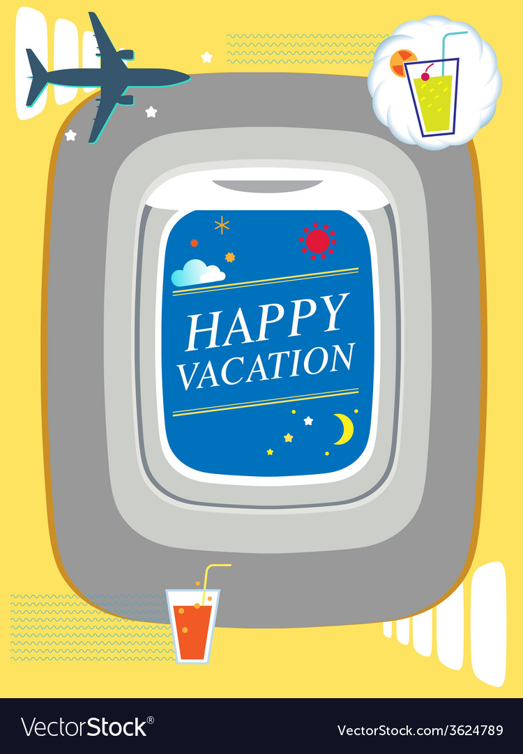 Airplane window holiday background travel concept vector