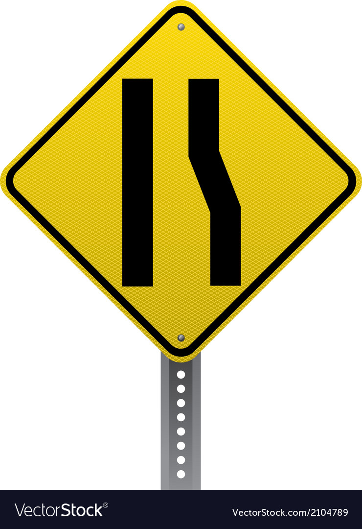 Lane ends sign vector