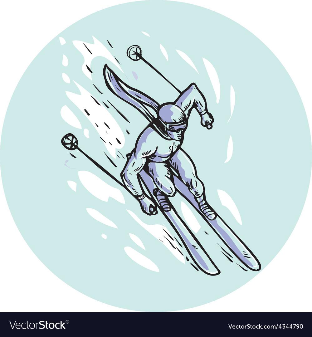 Skiing slalom circle etching vector