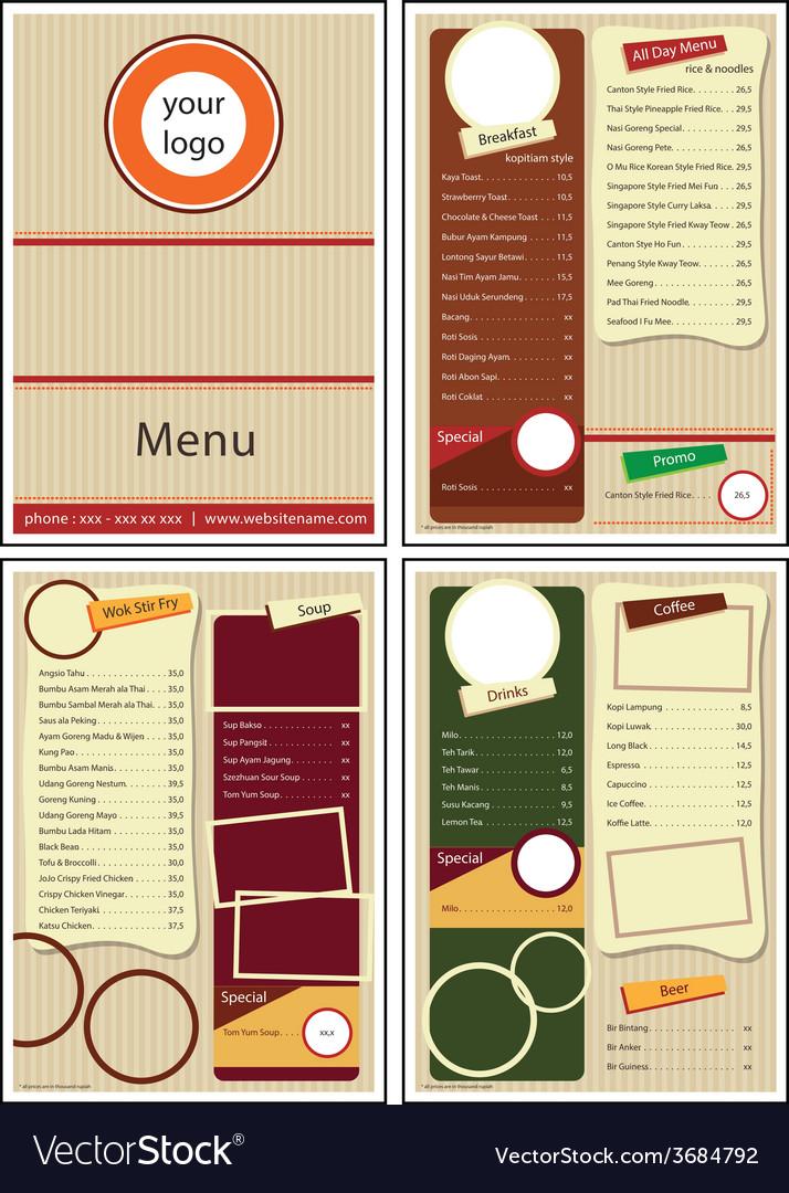 Cafe restaurant menu vector