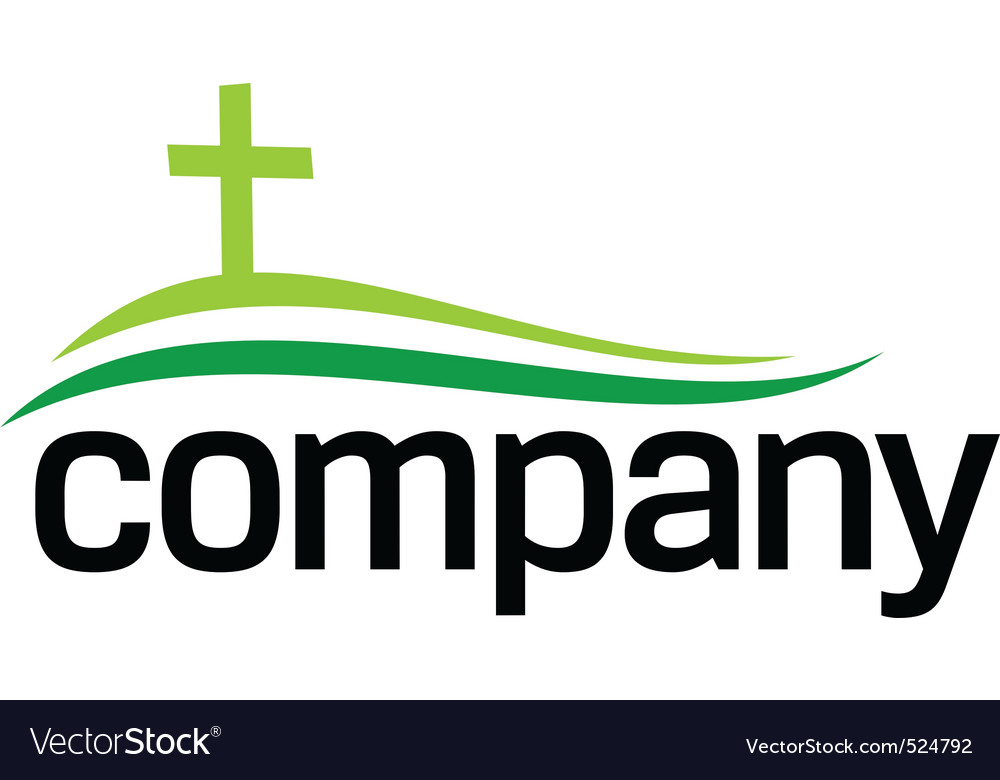 Green cross silhouette logo vector