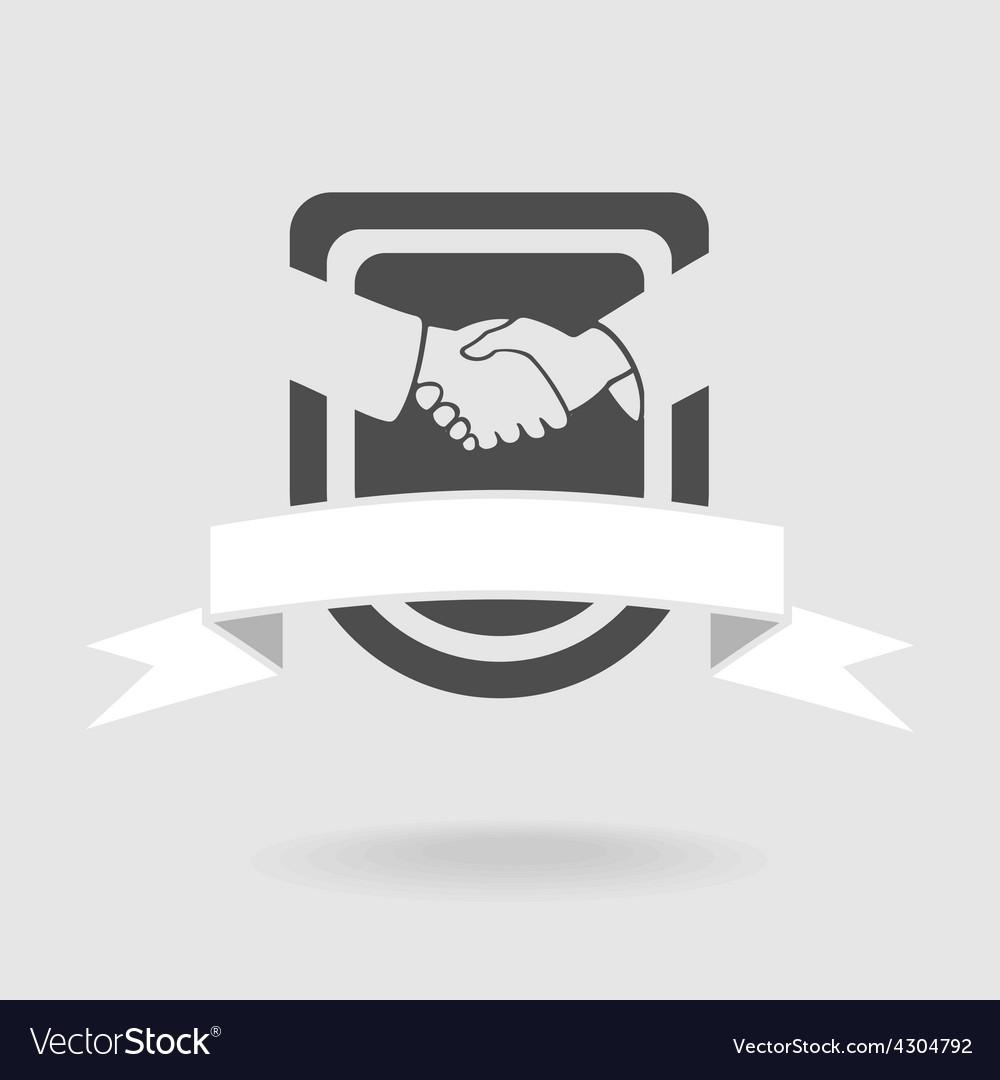 Shield symbol handshake vector