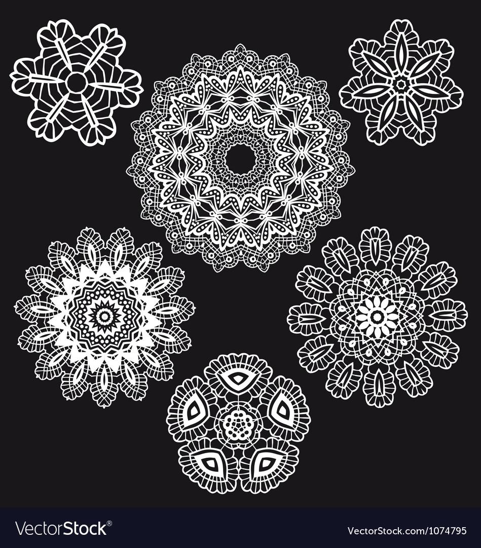 Lace pattern set vector