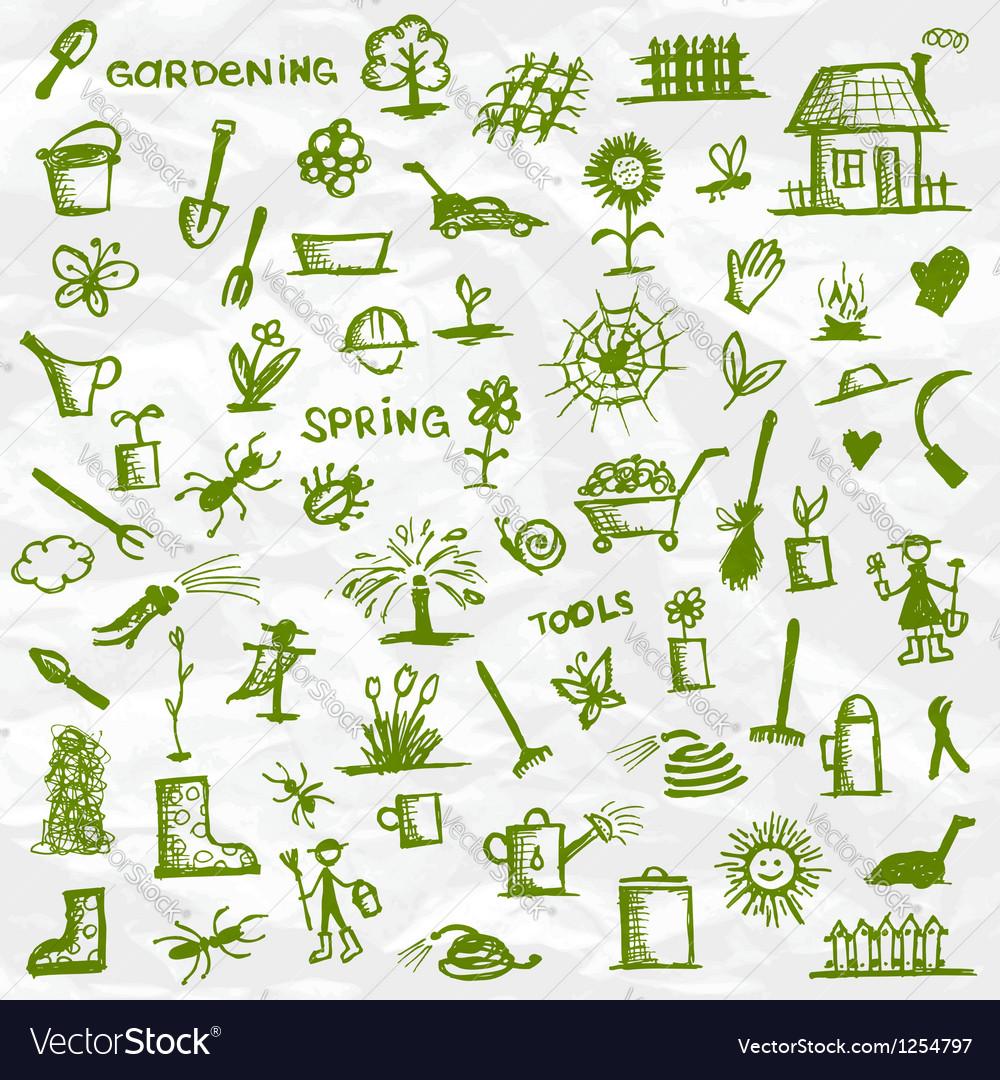 Spring garden tools sketch for your design vector