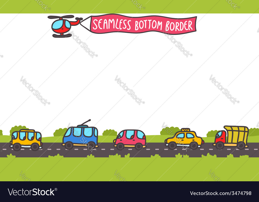 Hand drawn transport bottom seamless border vector