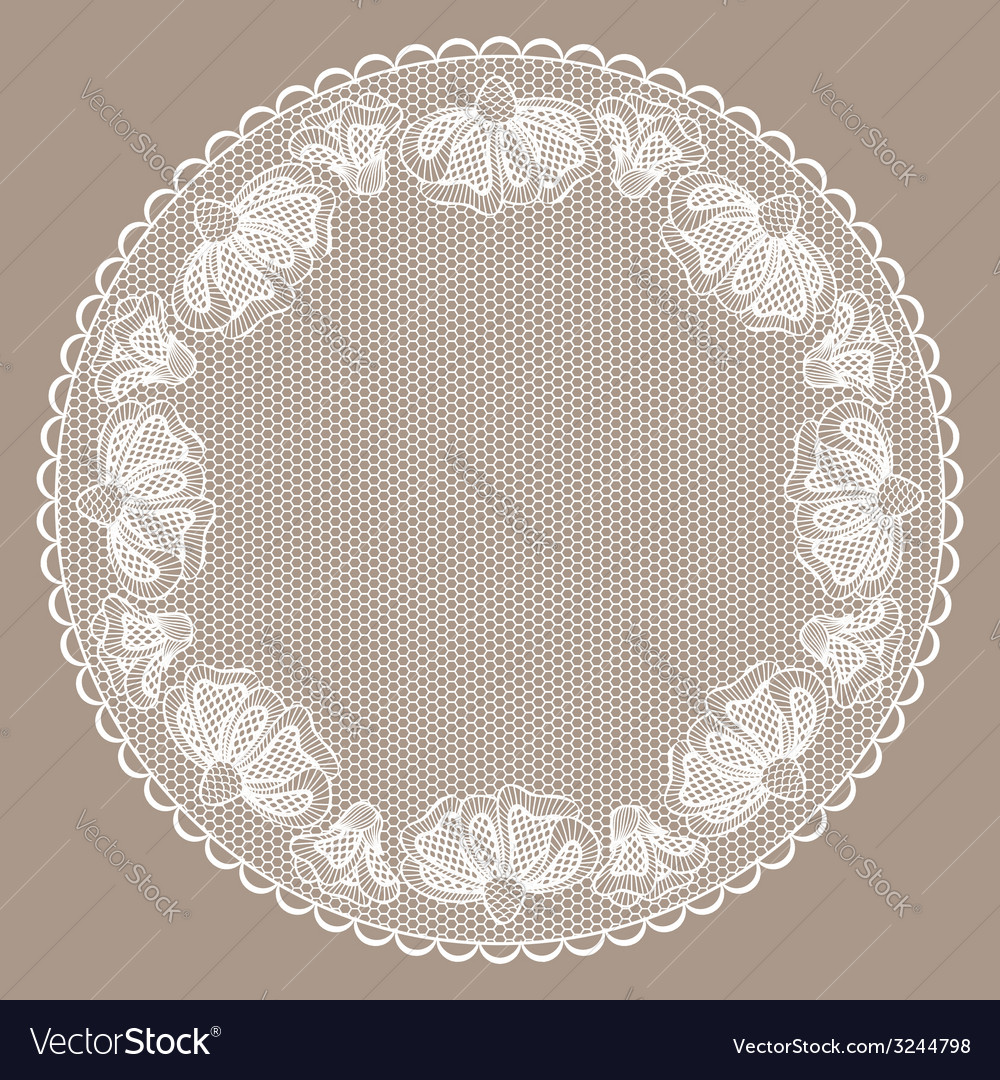 Round white lacy frame on beige background vector