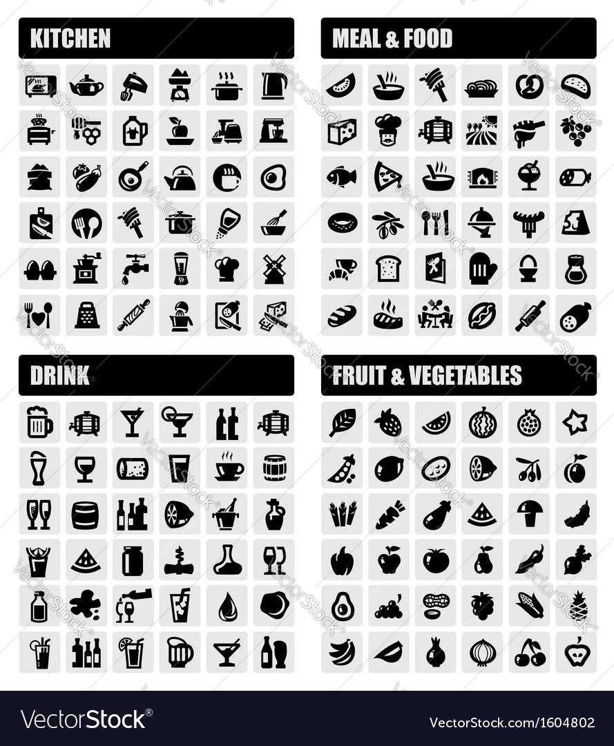 Beverage food kitchen icons vector