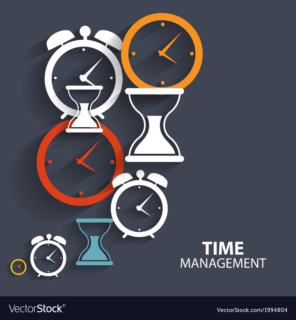 Modern flat time management icon for web and vector