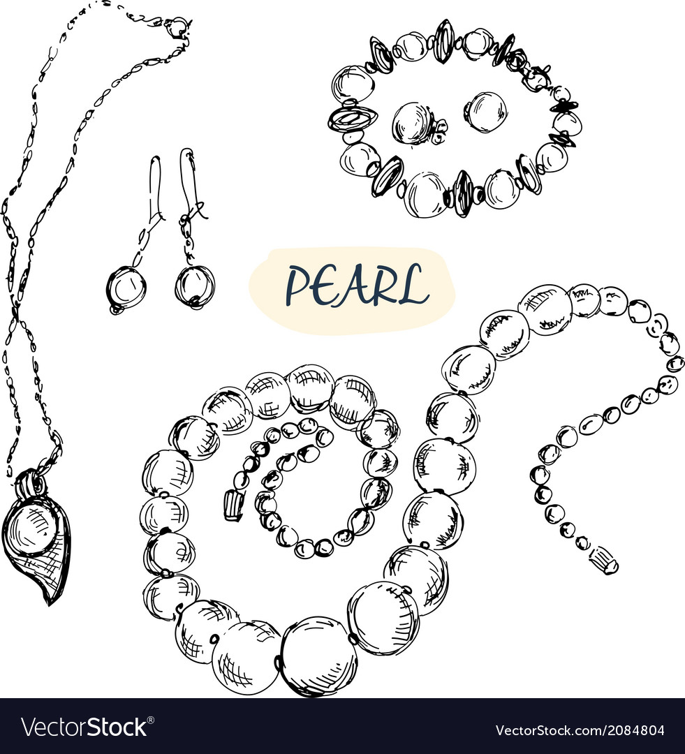 Pearl jewelry vector