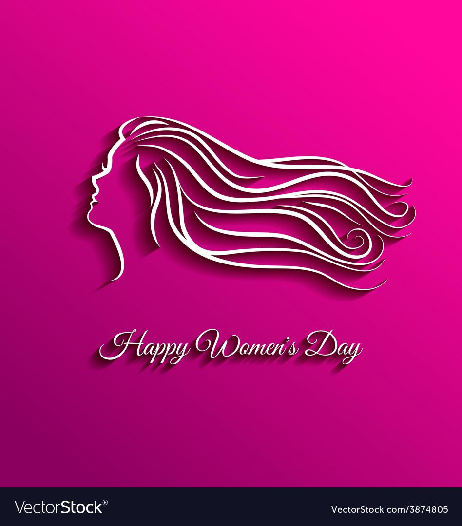 Beautiful long hair for international women day vector