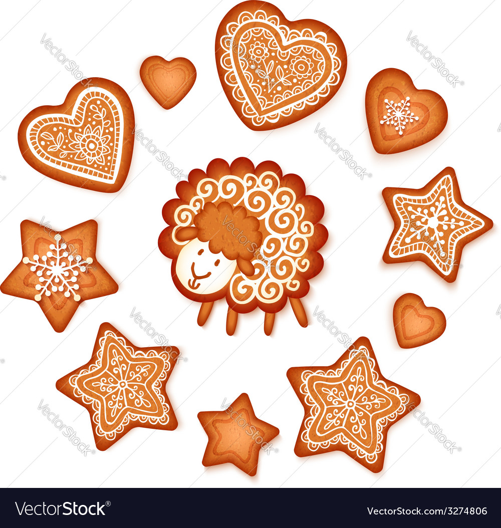 Sweet gingerbread stars hearts and sheep christmas vector