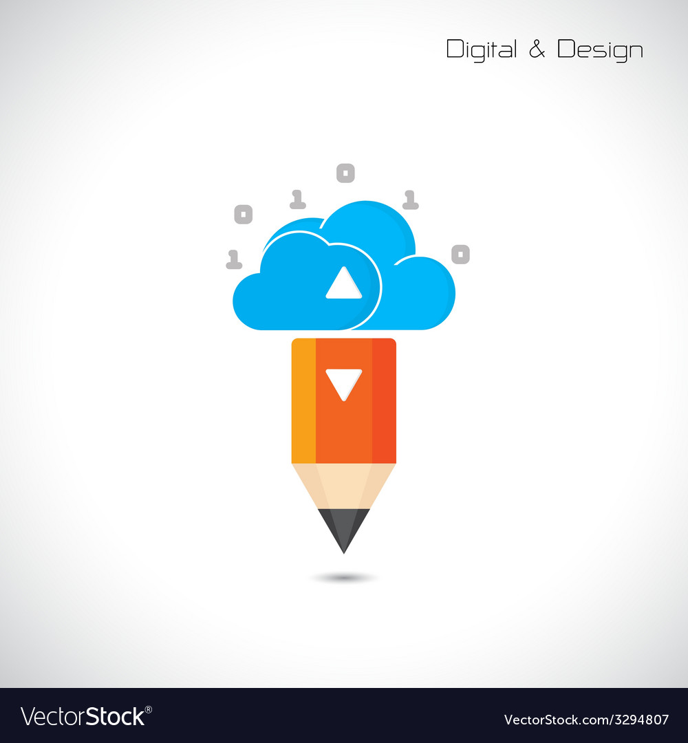 Creative pencil and cloud symbol vector