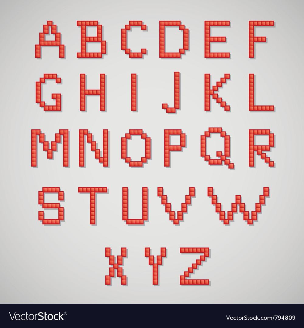 Pixel art alphabet vector
