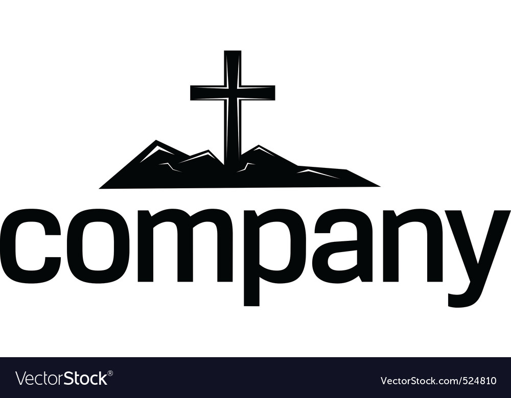 Cross silhouette logo vector