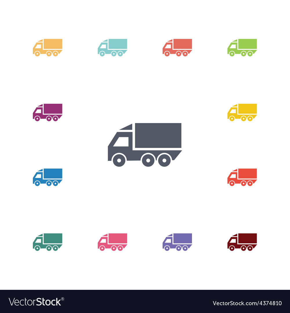 Truck flat icons set vector