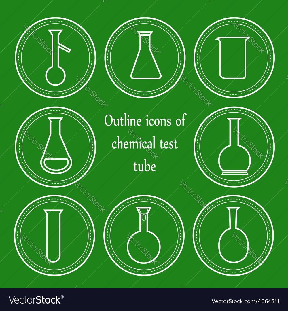 Chemical outline test tube vector