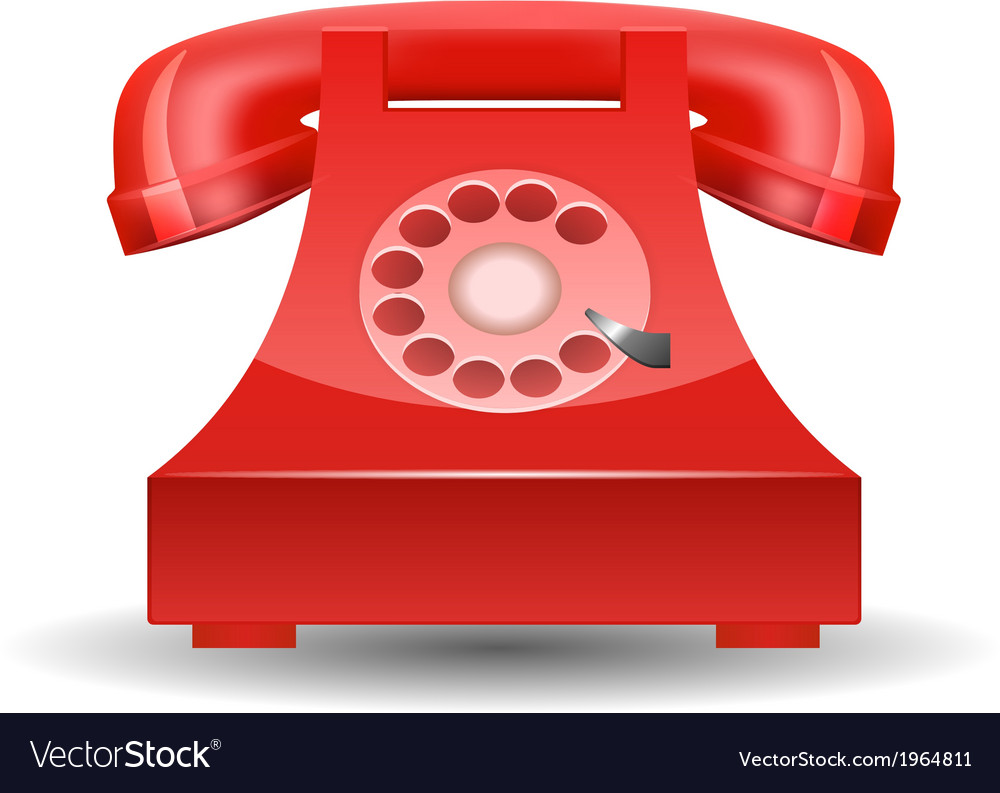 Red phone with rotary dial isolated vector