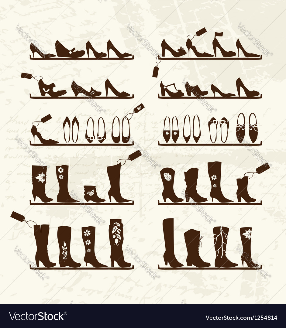 Shoes shop boots on shelves sketch for your design vector