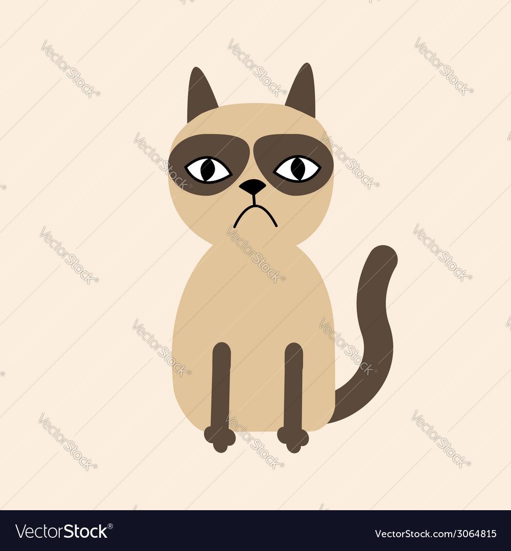 Cute sad grumpy siamese cat in flat design style vector