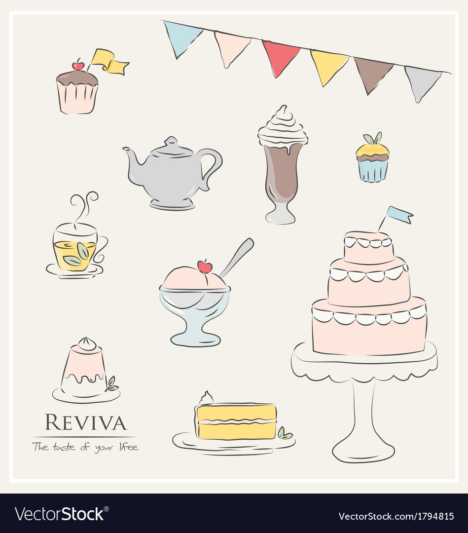 Food and drinks party icons vector