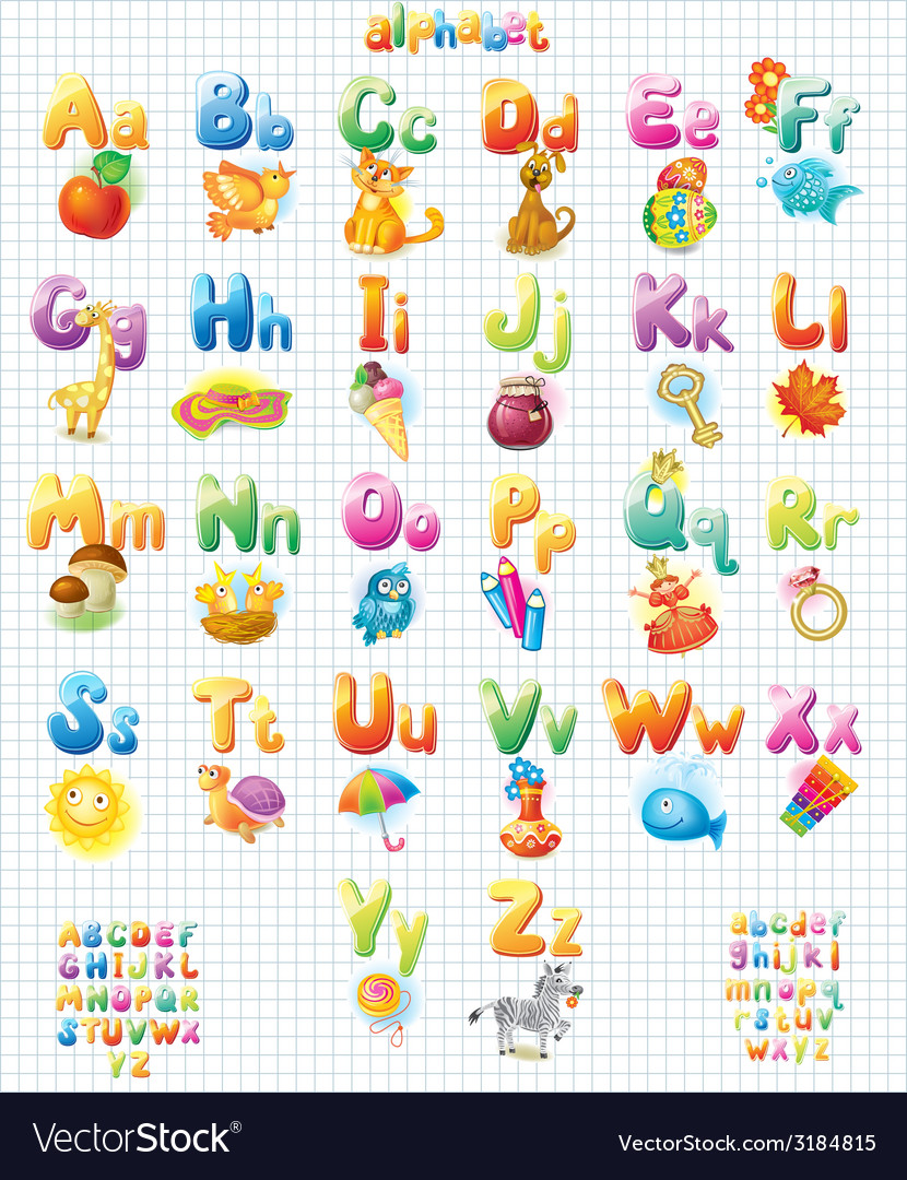 Funny alphabet with pictures for children vector