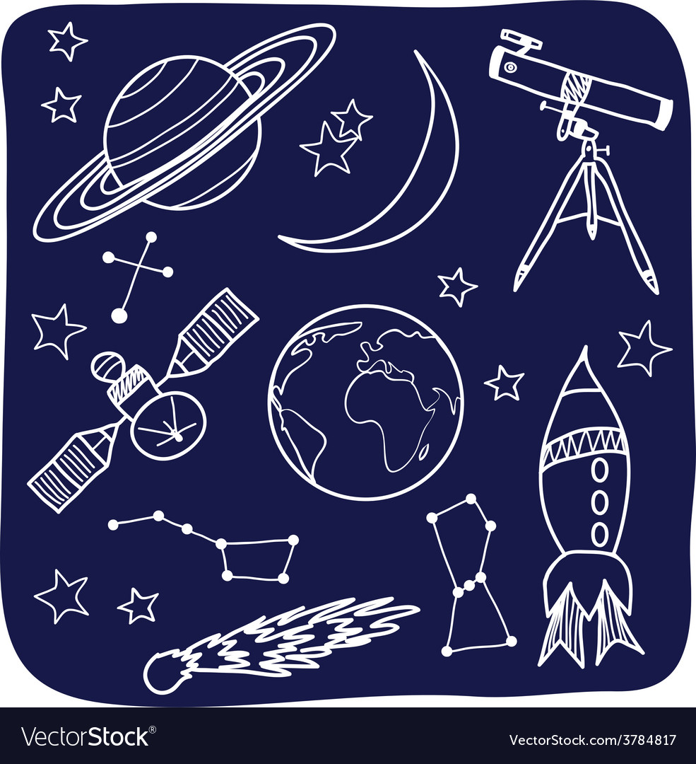 Astronomy - space and night sky objects vector