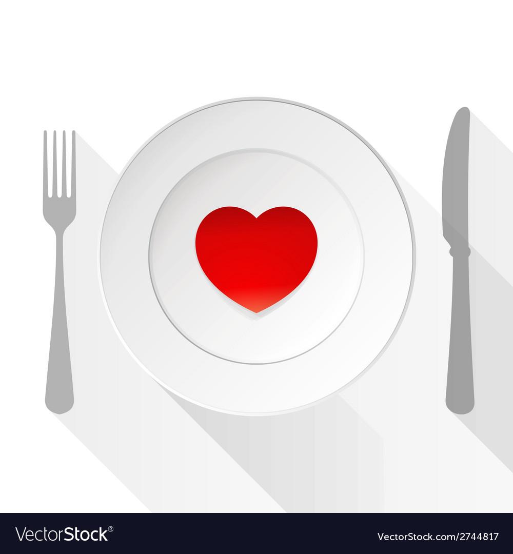 Valentine love plate vector
