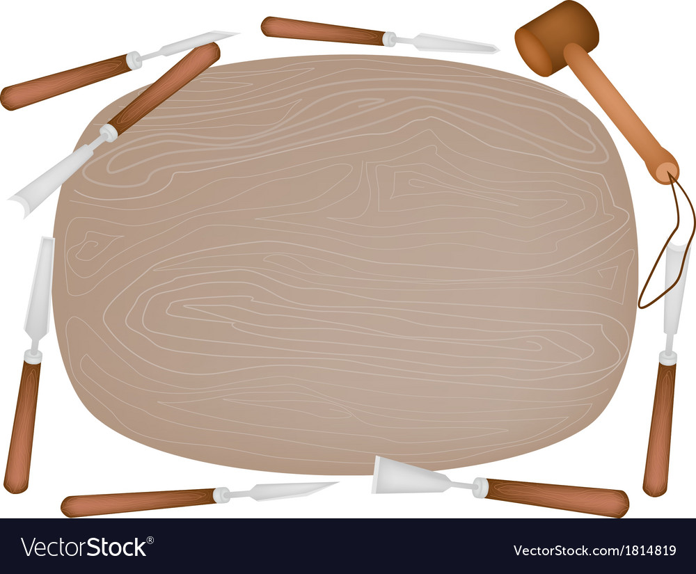 Carving tools with wooden plank vector