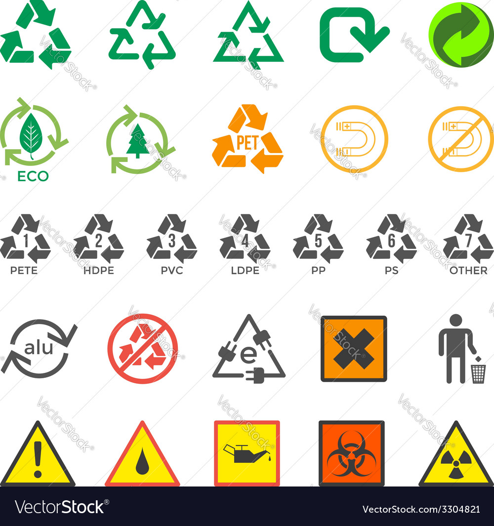 Various recycle and hazardous sign set vector
