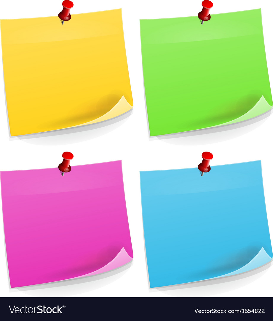 Four sticky notes vector