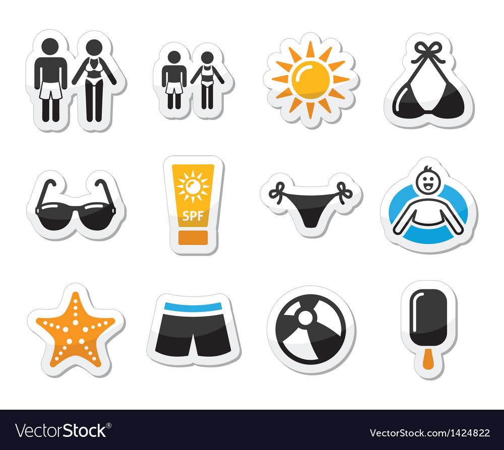 Summer beach holidays icons set vector