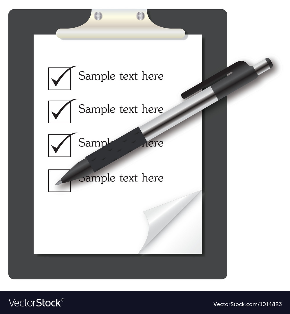 Abstract list icon with pen on business them vector