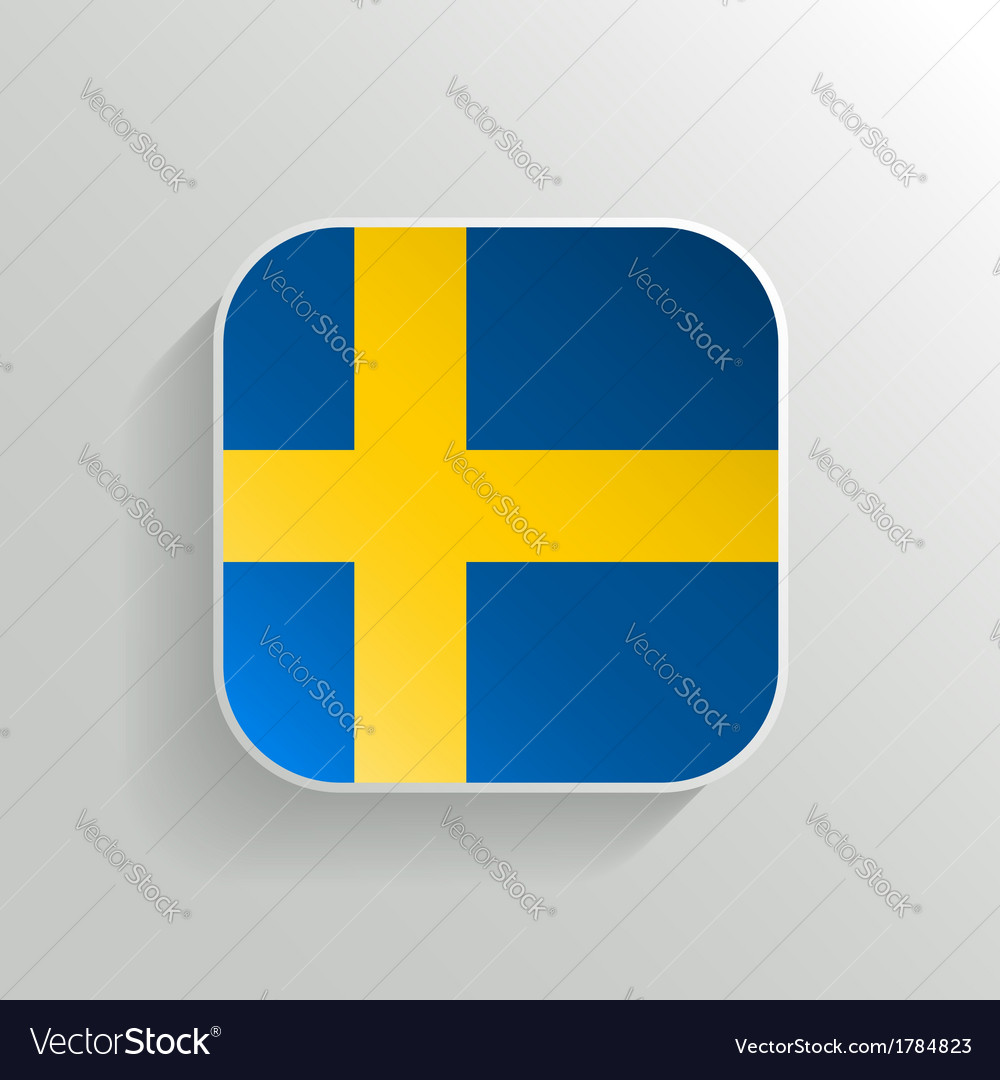 Button - sweden flag icon vector