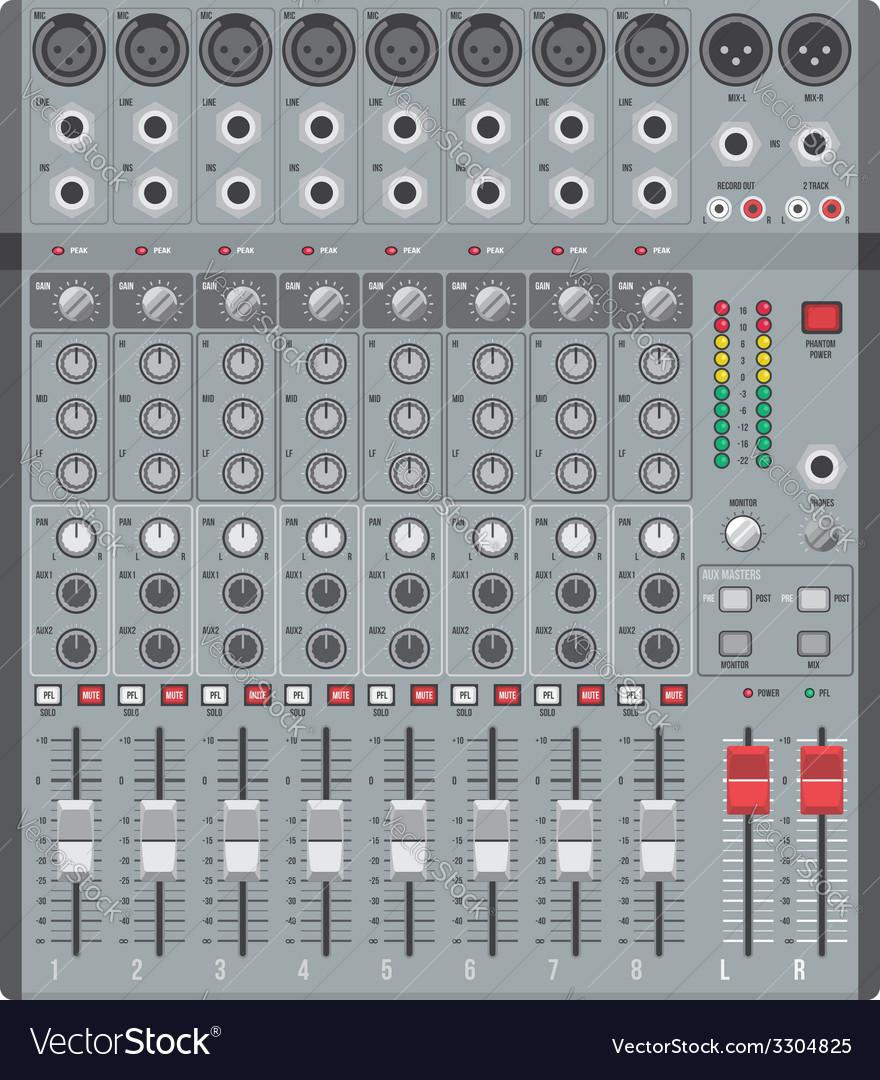 Eight channels professional studio sound mixer vector