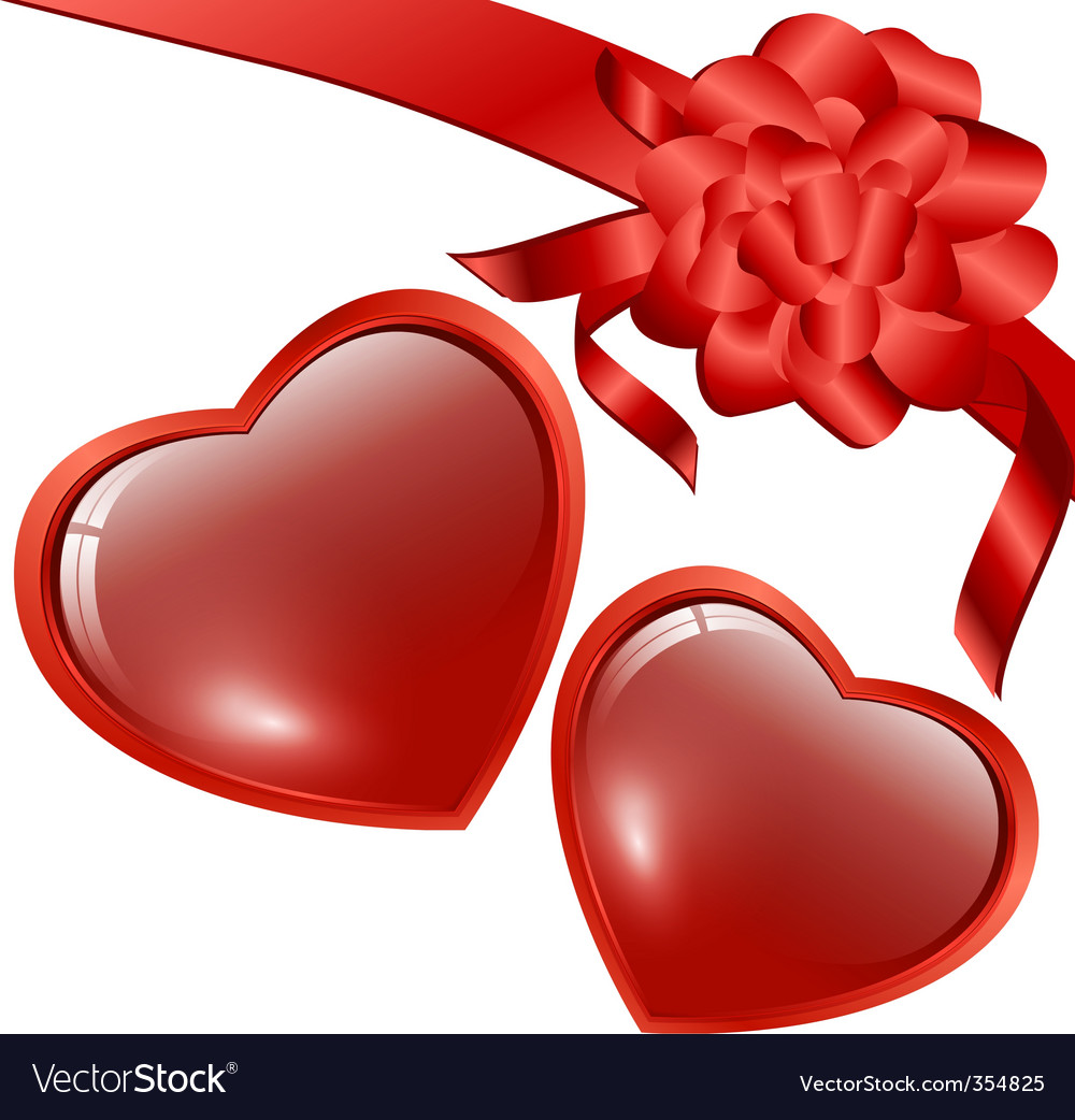Hearts with bow vector