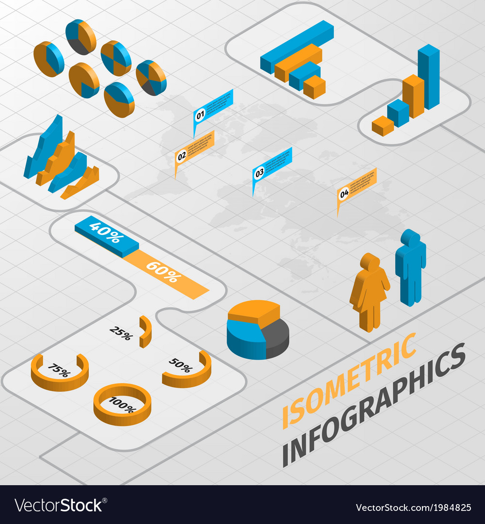 Isometric business infographics design elements vector