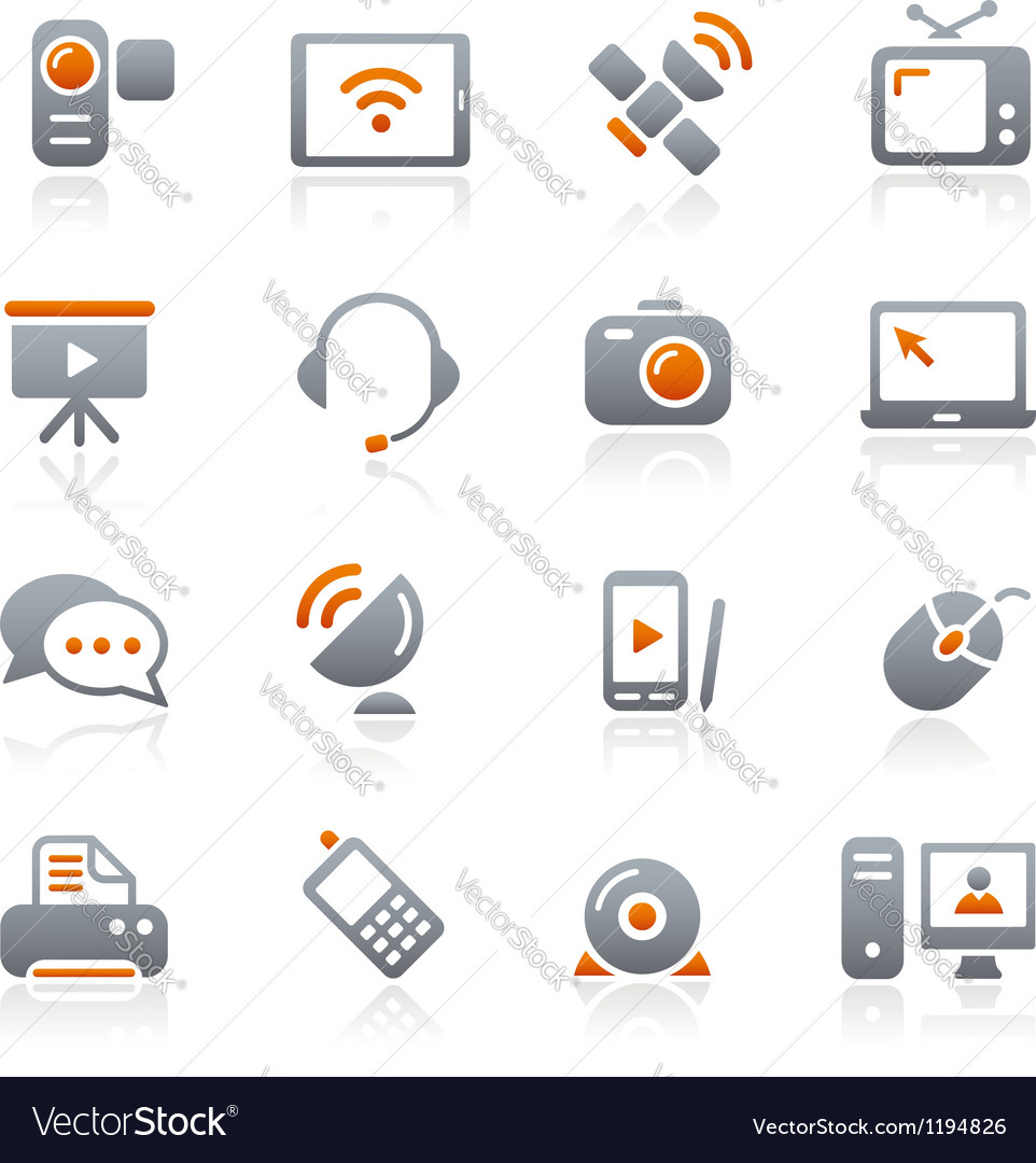 Communication icons graphite series vector
