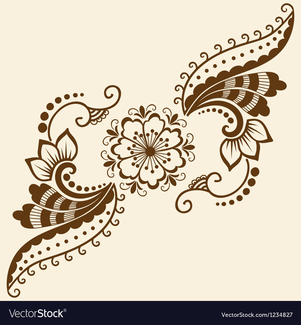 Ethnic mehndi floral pattern vector