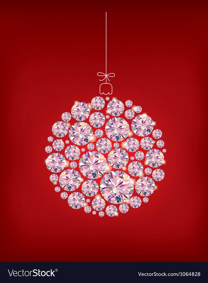 Diamond christmas ball vector
