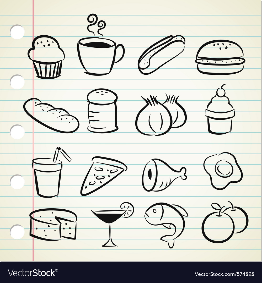 Sketchy food icons vector