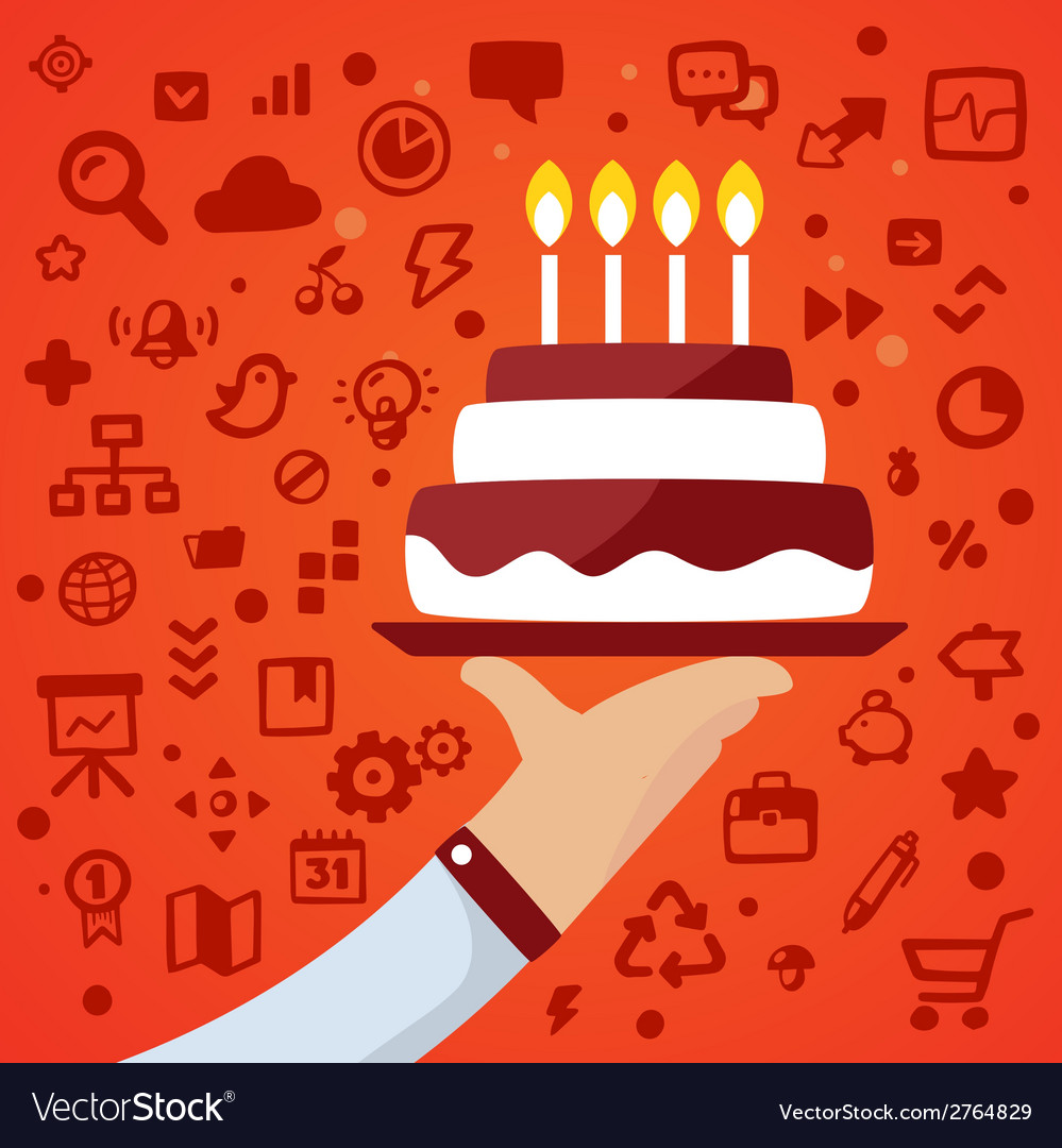 Bright male hand holds tray with big cake on vector