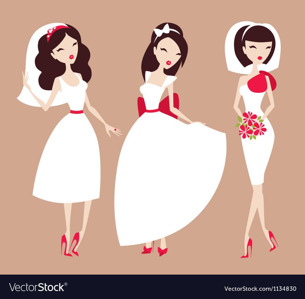 Beautiful brides vector