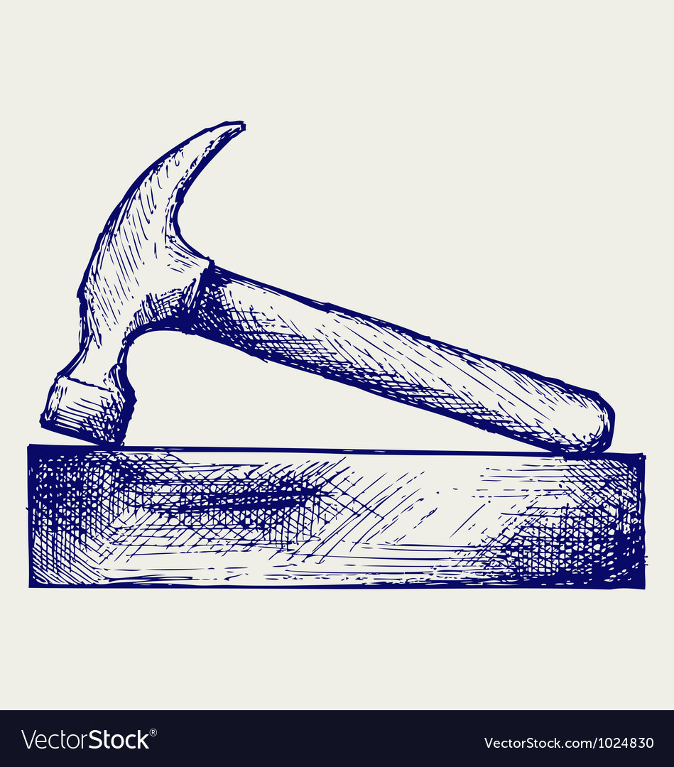 Hammer and bricks vector